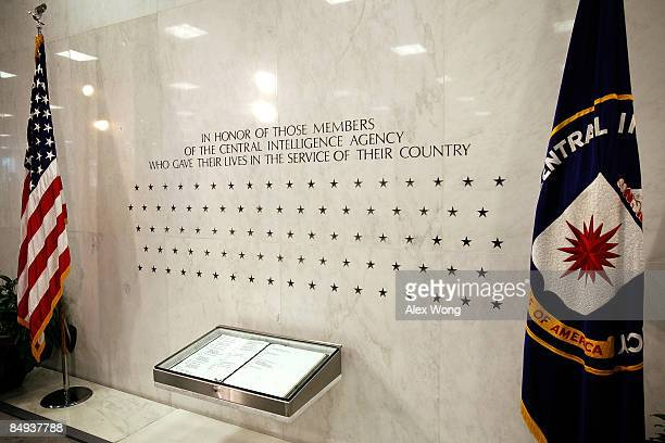 The Memorial Wall and the 'Book of Honor' are seen in the lobby of the Original Headquarters Building at the Central Intelligence Agency headquarters...