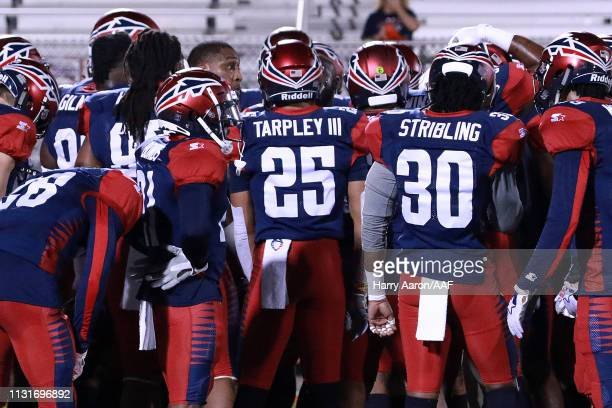 The Memphis Express gather together before taking on the Orlando Apollos during the Alliance of American Football game on February 23 2019 in Orlando...