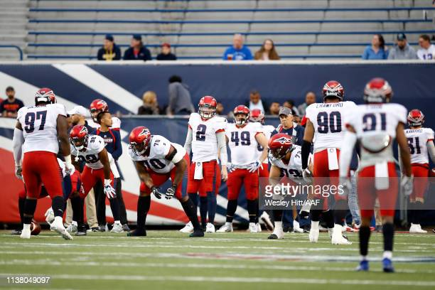 The Memphis Express warm up before taking on the Birmingham Iron during their Alliance of American Football game at Liberty Bowl Memorial Stadium on...
