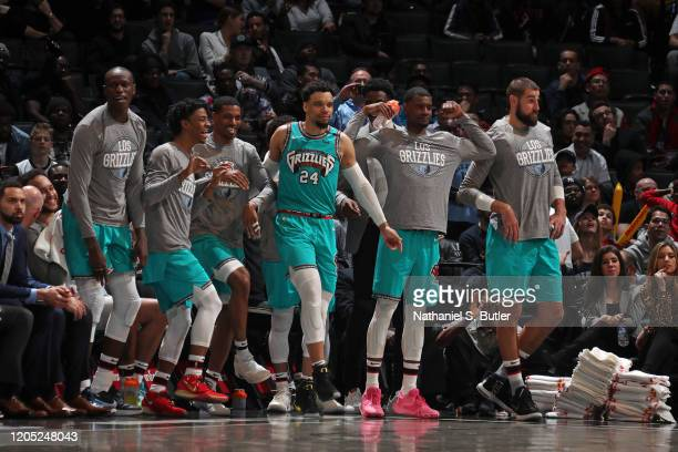 The Memphis Grizzlies bench reacts to a play during the game against the Brooklyn Nets on March 4, 2020 at Barclays Center in Brooklyn, New York....