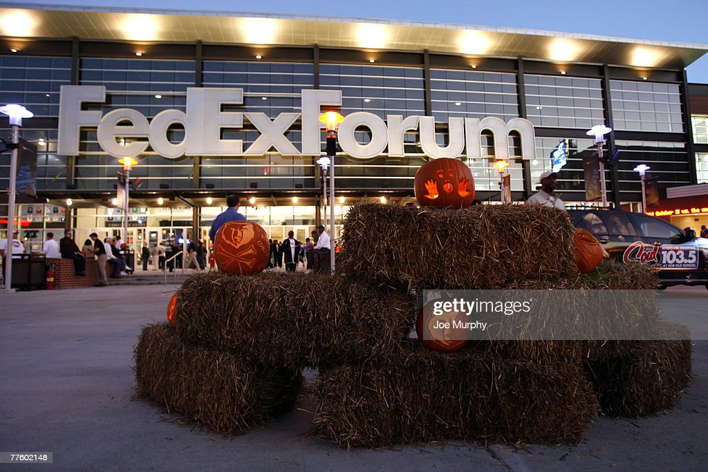 the memphis grizzlies celebrate halloween with carved pumpkins before a game against the san antonio spurs