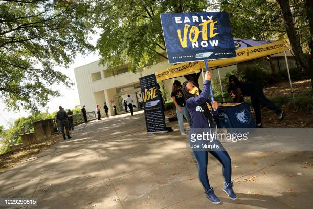 The Memphis Grizzlies host a Voting Event at Agricenter International on October 21 2020 in Memphis Tennessee NOTE TO USER User expressly...