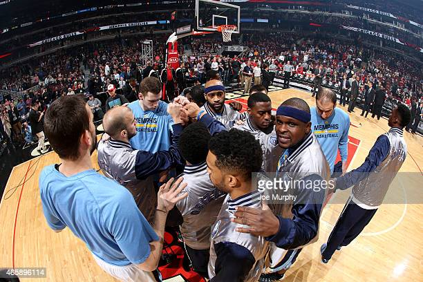 The Memphis Grizzlies huddle during a game against the Chicago Bulls on March 9 2015 at the United Center in Chicago Illinois NOTE TO USER User...