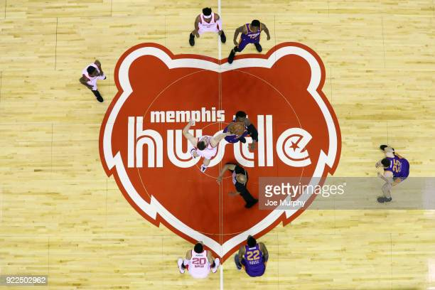the Memphis Hustle and Northern Arizona Suns jump for tip off to start the game between the two teams during an NBA GLeague game on February 21 2018...