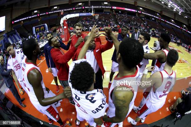 The Memphis Hustle huddle before a NBA GLeague game against the South Bay Lakers on March 23 2018 at Landers Center in Southaven Mississippi NOTE TO...