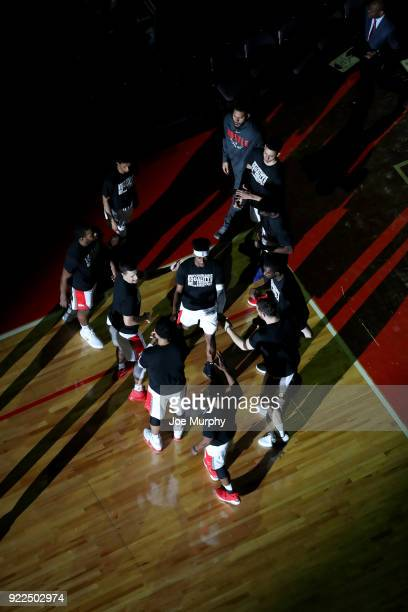 the Memphis Hustle huddle prior to the game against the Northern Arizona Suns NBA GLeague game on February 21 2018 at Landers Center in Southaven...