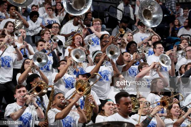 The Memphis Tigers band plays during a break in action against the Wichita State Shockers during a game on March 5 2020 at FedExForum in Memphis...