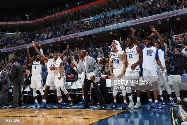 The Memphis Tigers bench celebrates against the Yale Bulldogs on November 17 2018 at FedExForum in Memphis Tennessee Memphis defeated Yale 109102 in...