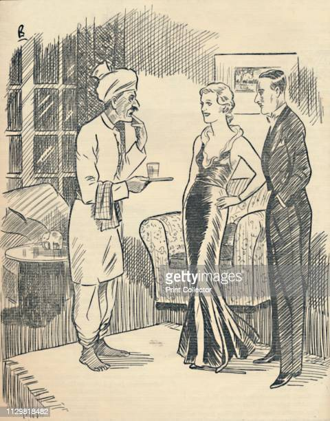 'The Memsahib Bolo the khansama we want dinner ek dum and make it jeldi' 1936 Cartoon illustration showing a colonial wife instructing her Indian...