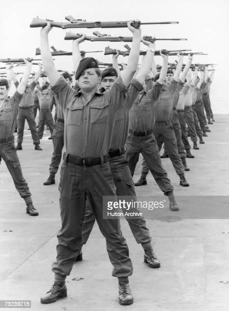 The men of 40 Royal Marine Commando A company training on board HMS Hermes on their way to the Falklands Islands following the Argentinian invasion...