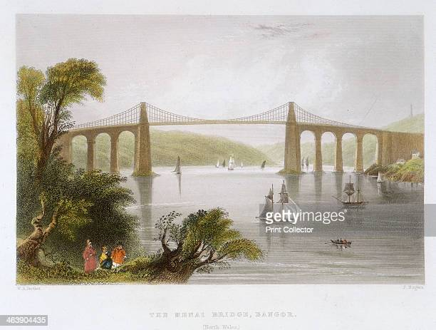 'The Menai Bridge Bangor ' c1826c1850 Thomas Telford's suspension bridge over the Menai Straits was built in 18201826 It was built to carry the...