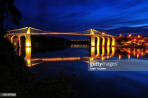 the menai bridge reflections - menai suspension bridge stock pictures, royalty-free photos & images