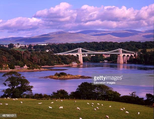 The Menai Bridge That Spans The Menai Straits Anglesay Wales