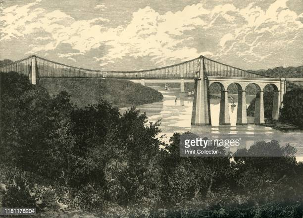 The Menai Suspension Bridge' 1898 Grade I listed Menai Suspension Bridge designed by Thomas Telford and completed in 1826 carrying traffic from...