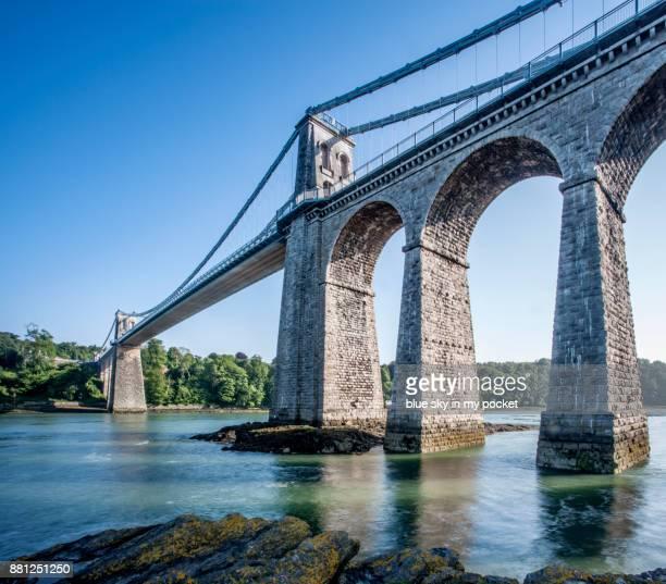 The Menai Suspension Bridge, built in 1826 by Thomas Telford.
