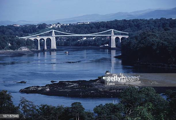 The Menai Suspension Bridge connecting the island of Anglesey with the mainland of Wales over the Menai Strait September 1982
