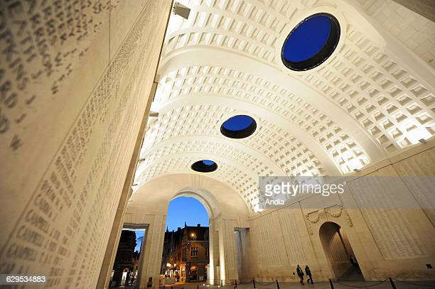 The Menin Gate Memorial dedicated to the commemoration of British soldiers Ypres Flanders Belgium World War I heritage site