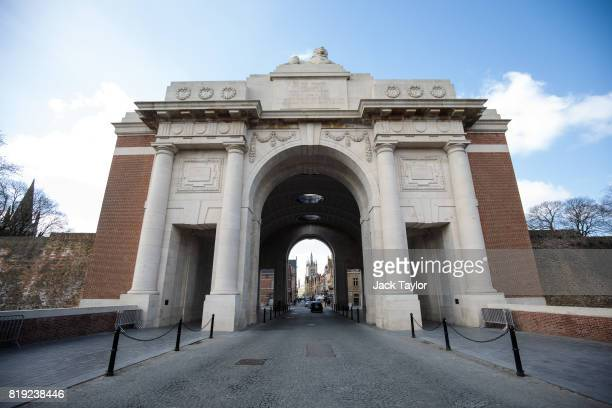 The Menin Gate Memorial to the Missing stands against a blue sky on April 6 2017 in Ypres Belgium July 31st marks the centenary of Passchendaele the...