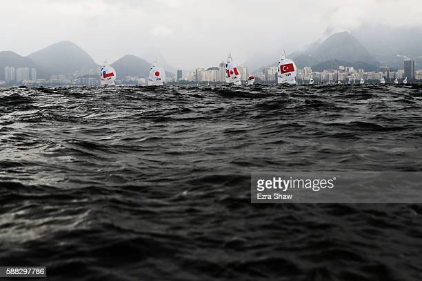 The Men's 470 class compete on Day 5 of the Rio 2016 Olympic Games at the Marina da Gloria on August 10 2016 in Rio de Janeiro Brazil
