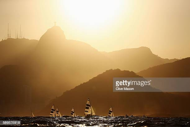 The Men's 470 class sail back to shore after competing on Day 9 of the Rio 2016 Olympic Games at the Marina da Gloria on August 14 2016 in Rio de...