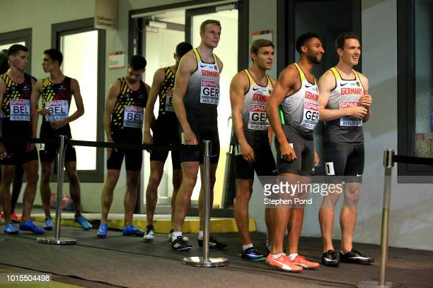 The Men's 4x400m team of Germany leave the call room ahead of their final race during day five of the 24th European Athletics Championships at...