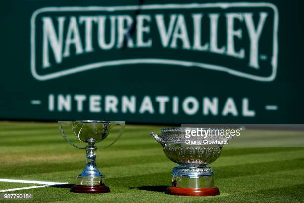 The men's and women's trophies on display prior to the finals during Day Nine of the Nature Valley International at Devonshire Park on June 30 2018...