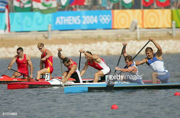 The men's C2 class 1000 metre final takes place on August 27 2004 during the Athens 2004 Summer Olympic Games at the Schinias Olympic Rowing and...