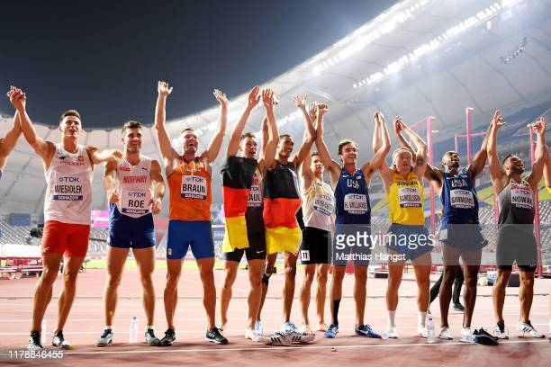 The Men's Decathlon athletes pose during day seven of 17th IAAF World Athletics Championships Doha 2019 at Khalifa International Stadium on October...