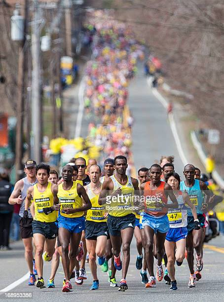 The men's division began their run in Hopkinton during the 117th Boston Marathon