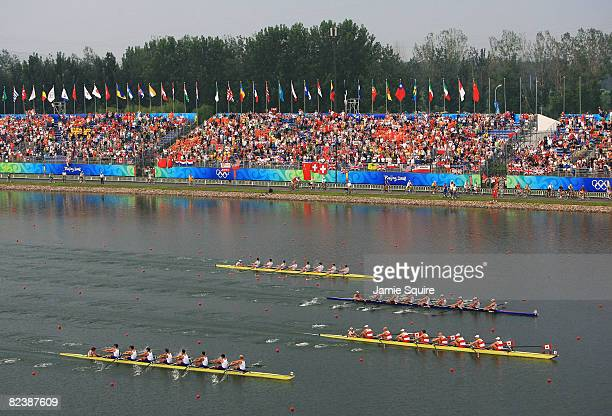 The Men's Eight final takes place at the Shunyi Olympic Rowing-Canoeing Park during Day 9 of the Beijing 2008 Olympic Games on August 17, 2008 in...