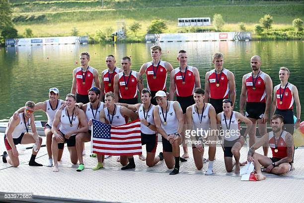 The Men's Eight teams of the United States of America and Poland pose for a photo after qualifying for the 2016 Summer Olympic Games in Rio during...