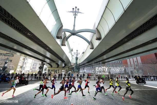 The Men's Elite group including Suguru Osako of Japan and eventual winner Birhanu Legese of Ethiopia during the Tokyo Marathon on March 01 2020 in...