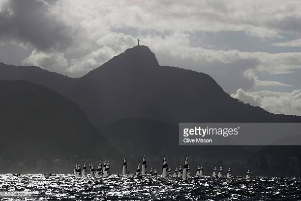 The Men's Laser class competes on Day 7 of the Rio 2016 Olympic Games at Marina da Gloria on August 12 2016 in Rio de Janeiro Brazil