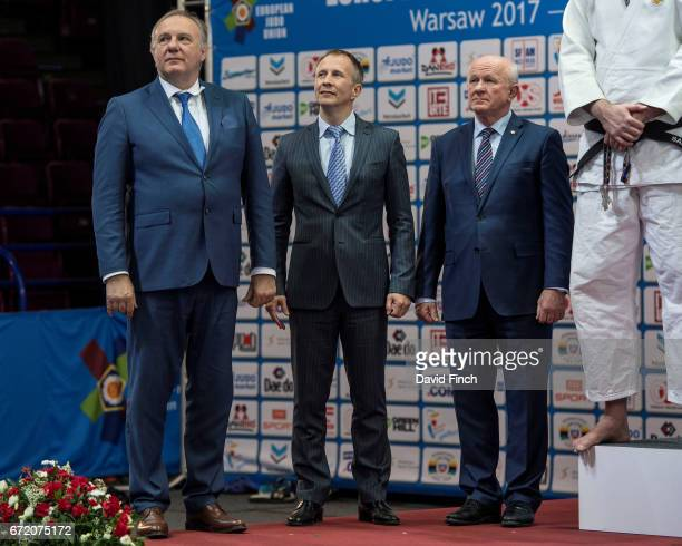The men's team medals were presented by EJU Secretary Laszlo Toth EJU President Sergey Soloveychik and EJU VicePresident Michal Vachun during the...