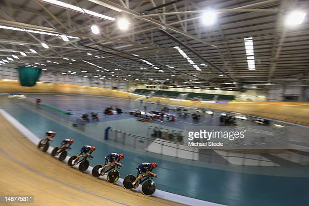 The men's team pursuit in action during the Team GB Track Cycling Training Session at Newport Velodrome on July 19 2012 in Newport Wales