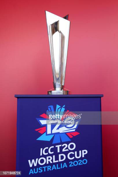The mens trophy is seen during a ICC 2020 T20 World Cup Media Opportunity at the Sydney Cricket Ground on November 24, 2018 in Sydney, Australia.