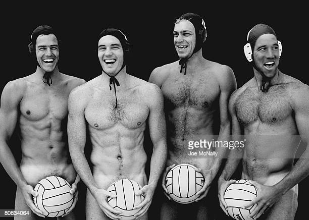 The men's US Water Polo team members pose in June of 1996 with only their polo balls to cover themselves at a training facility in Atlanta Georgia...
