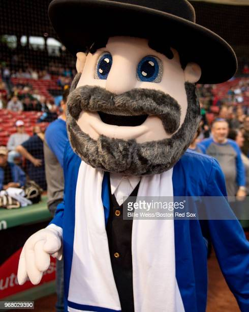 The Mensch on the Bench mascot participate in a Jewish Heritage Night pregame ceremony before a game between the Boston Red Sox and the Detroit...