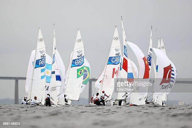 The Mens's 470 Class fleet prepares to race on Day 5 of the Rio 2016 Olympic Games at the Marina da Gloria on August 10 2016 in Rio de Janeiro Brazil