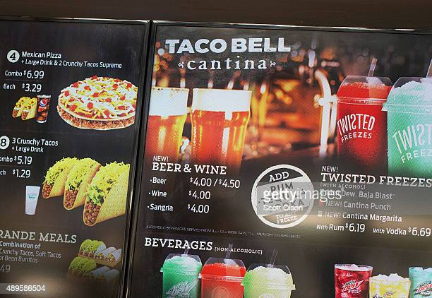 The menu at a Taco Bell Cantina restaurant lists alcoholic beverages for sale on September 22 2015 in Chicago Illinois The restaurant is Taco Bell's...