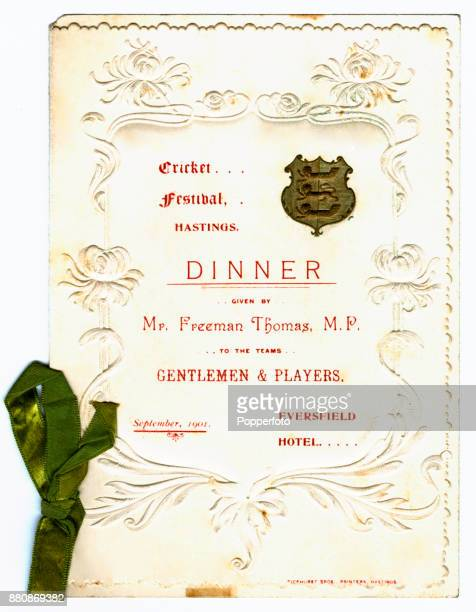 The menu card for the Hastings Festival dinner for The Gentlemen and The Players at the Eversfield Hotel in Hastings circa September 1901