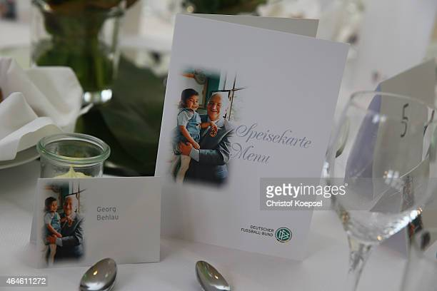 The menu card is seen during Egidius Braun's 90th Birthday Celebration at Sportschule Hennef on February 27 2015 in Hennef Germany