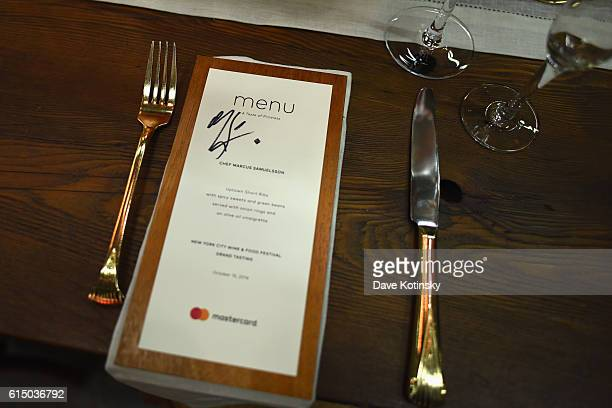 The menu for a meal with Chef Marcus Samuelsson with Mastercard at the Food Network Cooking Channel New York City Wine Food Festival Presented By...