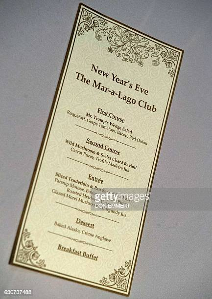 The menu for US Presidentelect Donald Trumo's New Year's Eve party at the MaraLago Club is pictured on December 31 2016 at MaraLago in Palm Beach...