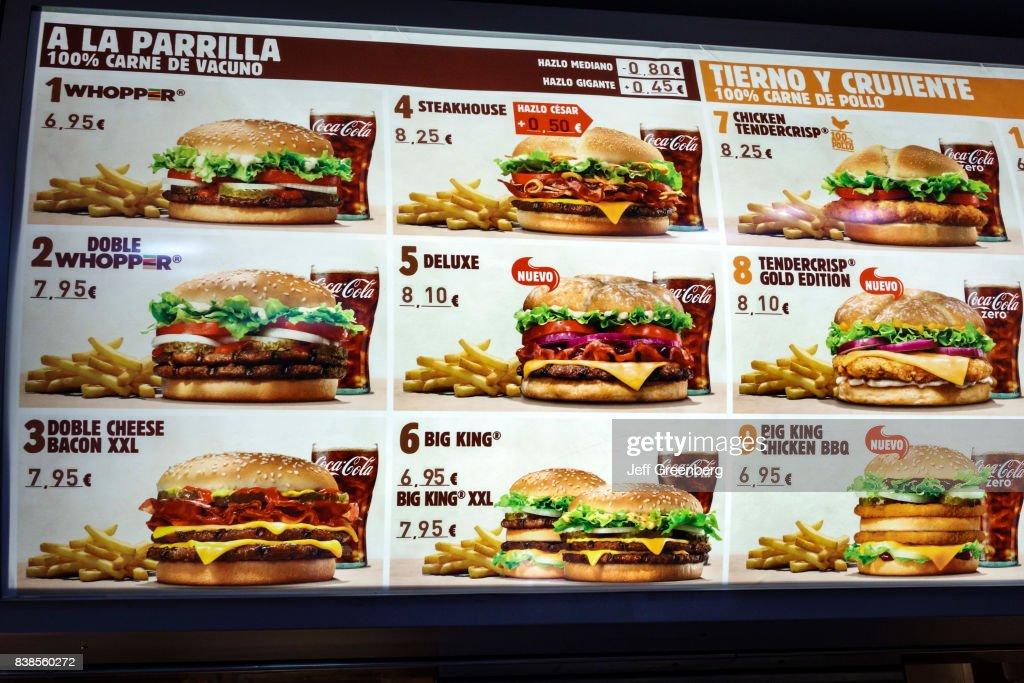 The Menu Inside Burger King In Paseo Del Prado