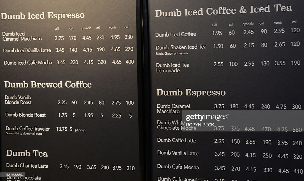 "The menu is displayed inside ""Dumb Starbucks"" coffee shop, February... News Photo - Getty Images"