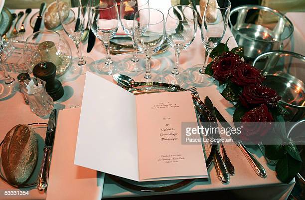 The menu list of the 57th Red Cross Ball is seen on August 5 2005 in Monte Varlo Monaco