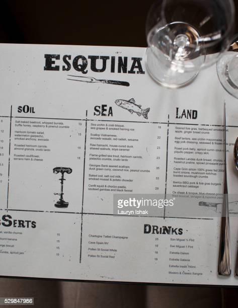 The menu placemats at Esquina, Jiak Chuan Road, Singapore