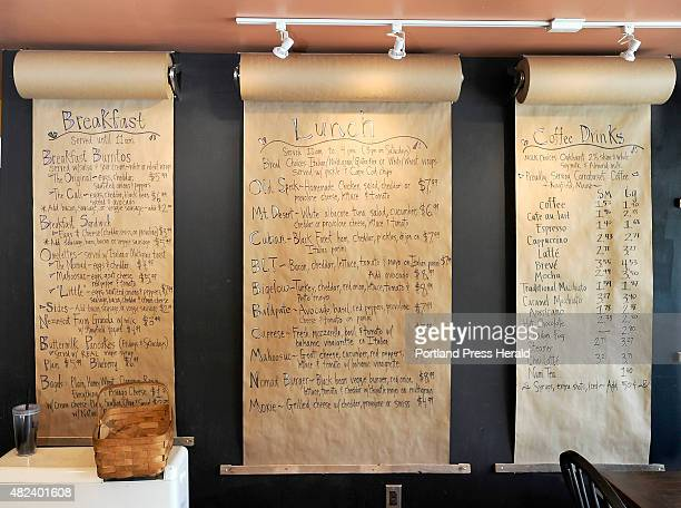 The menus are written each day on rolls of Kraft paper hung on the wall at Cafe Nomad in Norway Maine