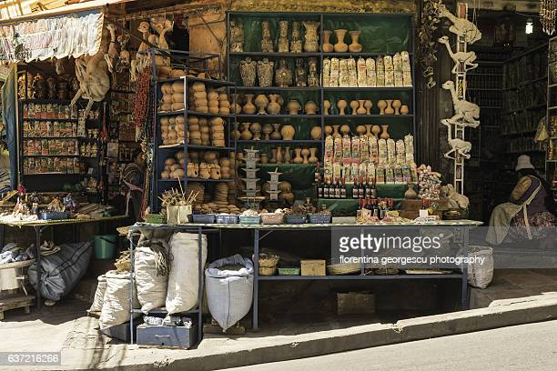 The Mercado de Hechiceria, or Witches' Market, and its colorful stalls, La Paz, Bolivia